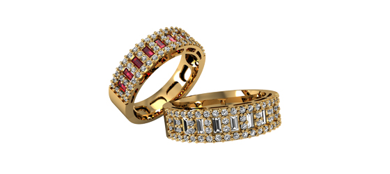 aliança de brilhantes e rubis