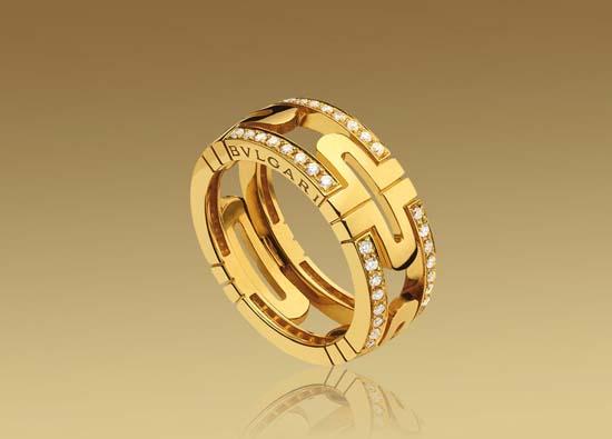 aliança bulgari, moderna, ouro amrelo, brilhantes, fashion, replica