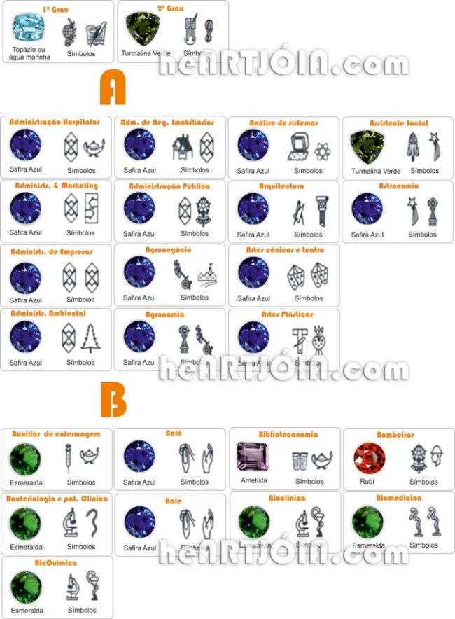Anel de Formatura, Símbolos  e as Gemas
