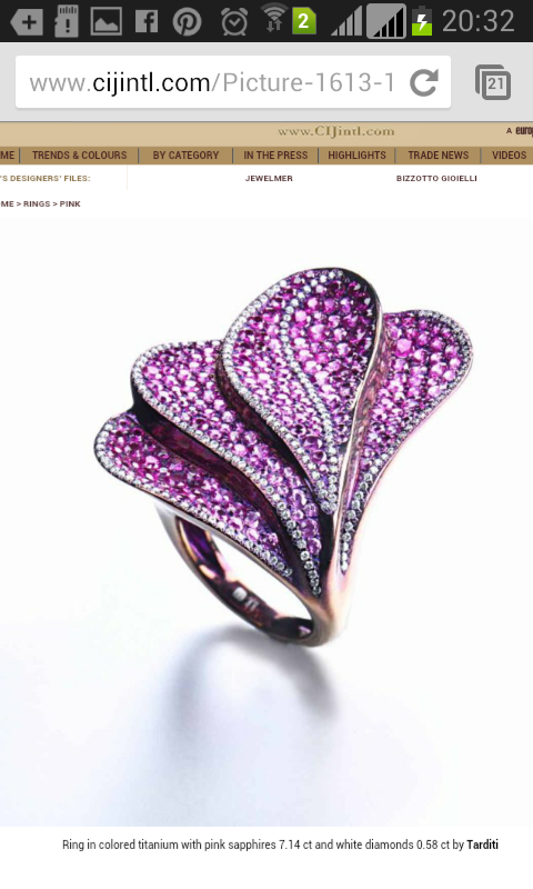 CIJ International Jewellery TRENDS & COLORS - Rings by: Tarditi