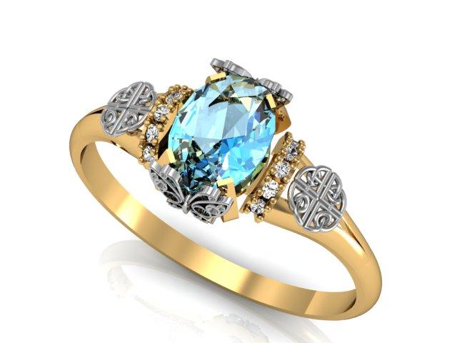 Anel de Noivado Celta Topázio Azul e Borboleta
