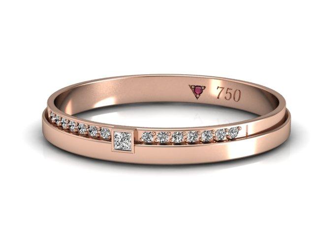 Aliança  com diamantes ouro rosé 18k para mulheres delicadas