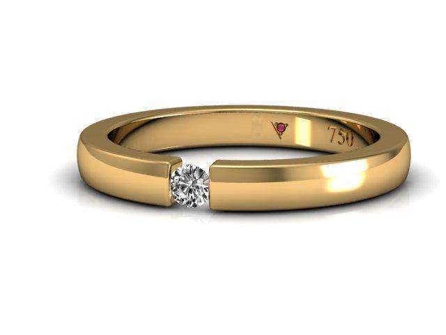 Aliança Feminina com diamante flutuante para mulheres discretas