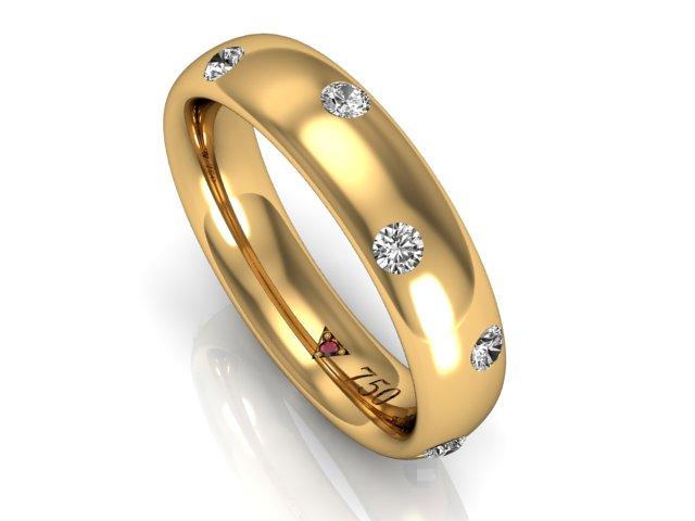Aliança Feminina com Diamantes - Estilo, 5mm - Ouro Amarelo (9)