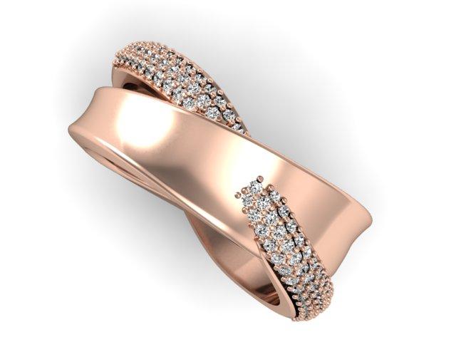 Aliança Feminina com Diamantes Trancada - OUro 18k (3)