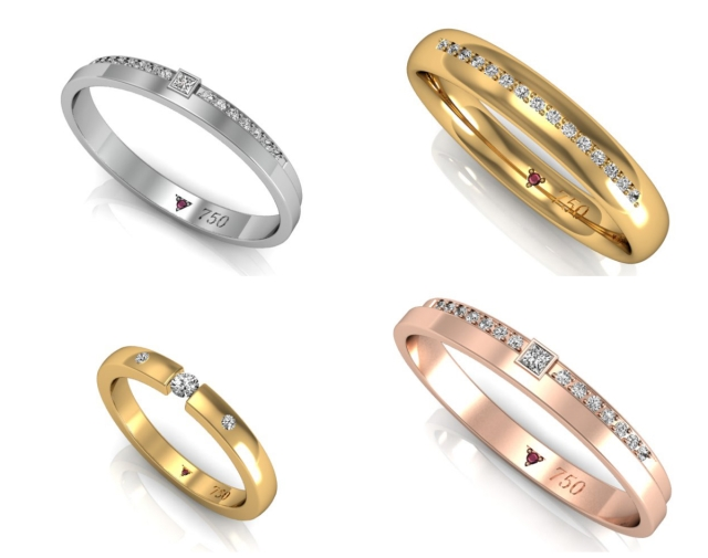 alianças de ouro e diamante para mulheres delicadas