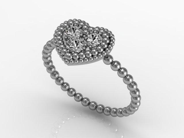 Anel de Ouro Branco - Corações Diamantes (1)
