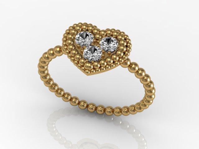 Anel de Ouro - Corações Diamantes