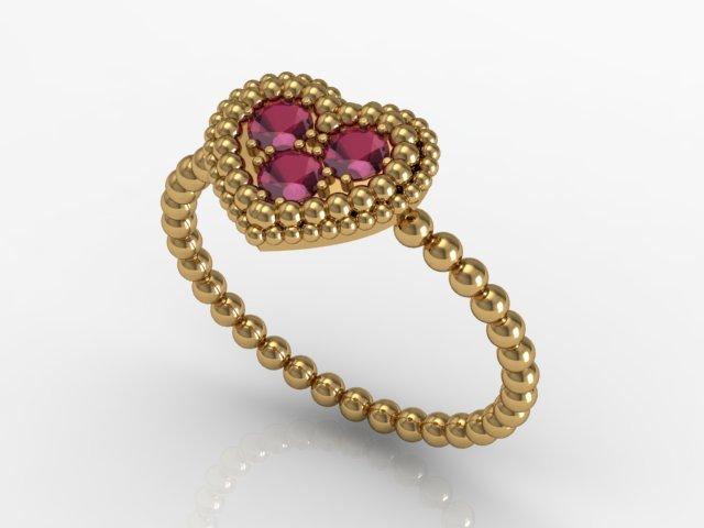 Anel de Ouro - Corações Rubi(1)