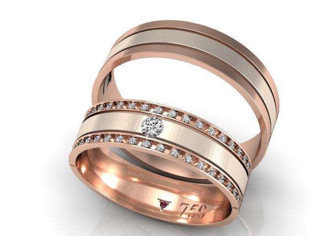 Par de Alianças de Ouro 18k com diamantes (3)