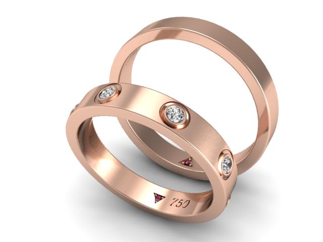 Par de Alianças Fit Master - Ouro Rosé e Diamantes (2)