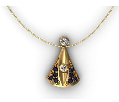 Encontre colares em Ouro 18K com pingente da Nossa Senhora com Safira e Diamante no site www.casasaopaulojoias.com