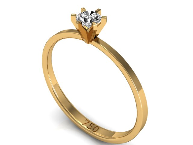 Anel Solitário Ouro Amarelo - Hera (1)