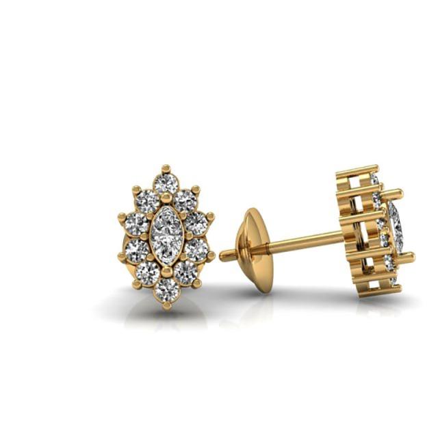 Jackie - Brinco de Ouro Amarelo   e Diamante Navete e diamantes (2) 800