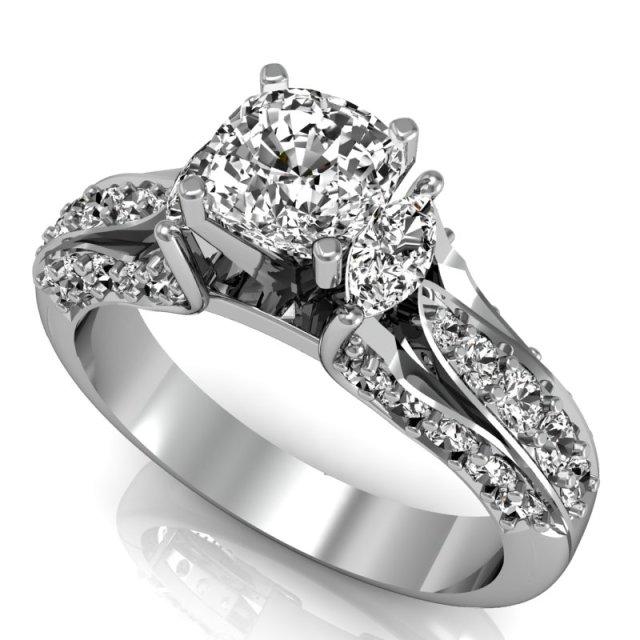 Red Carpet - Anel Solitário Ouro Branco e Diamantes (1)