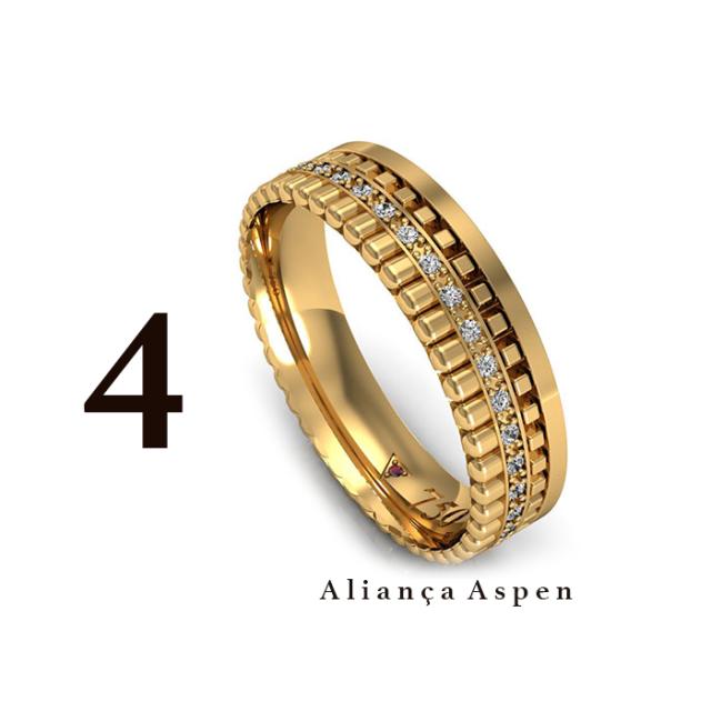 93496aa1c8275 Esta aliança é uma das mais desejadas e está disponível em Ouro branco, Ouro  Amarelo e Ouro Rosé.