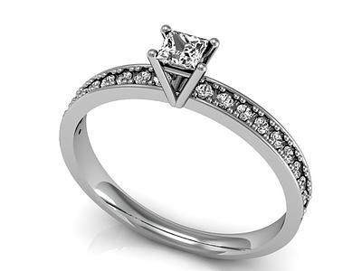 anel solitário diamante princess ouro branco